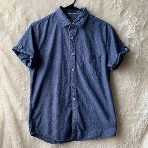 Express Mens Fitted Short Sleeve Dress Shirt